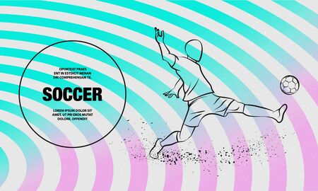 Football player hits the ball on a striped background. Soccer striker. Vector outline of soccer player sport illustration. Vectores