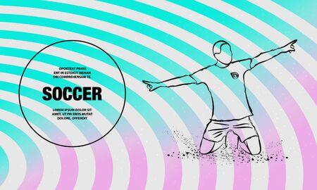 Soccer player celebrating a goal. Vector outline of soccer player sport illustration.