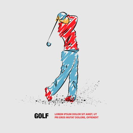 Golf player with a stick. Vector outline of Golf player with scribble doodles.