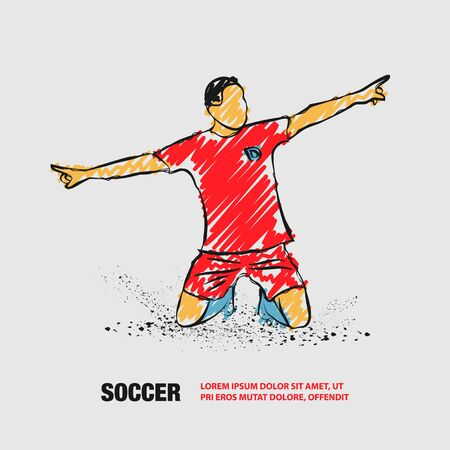 Soccer player celebrating a goal. Vector outline of soccer player with scribble doodles.