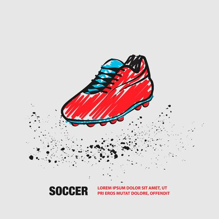 Football One Boot on a White background. Vector Outline of Soccer Boot with scribble doodles. Фото со стока - 130792557