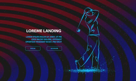 Golf player with a stick. Vector Sport Background for Landing Page Template.