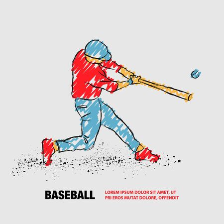 Baseball player hit the ball. Vector outline of Baseball player with scribble doodles. Иллюстрация
