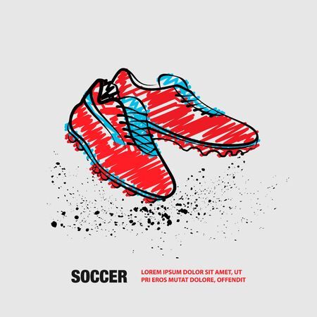 Football Boots on a White background. Vector Outline of Soccer Boots with scribble doodles. Фото со стока - 130792555