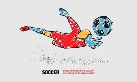 Soccer save from the goalkeeper. Vector outline of soccer player with scribble doodles.