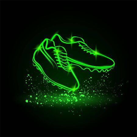 Neon football boots illustration. Vector outline soccer boots for sports background.