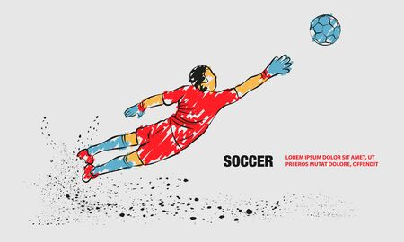 Goalkeeper try to catch the ball. Vector outline of soccer goalkeeper with scribble doodles. Çizim