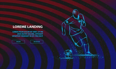 Soccer player running with the ball. Vector Sport Background for Landing Page Template.