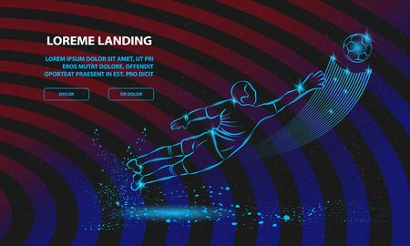 Save from the soccer goalkeeper. Vector Sport Background for Landing Page Template. Illustration