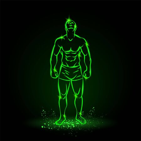 Bodybuilder outline silhouette. Muscular man posing with head up. Vector green neon illustration on black background.
