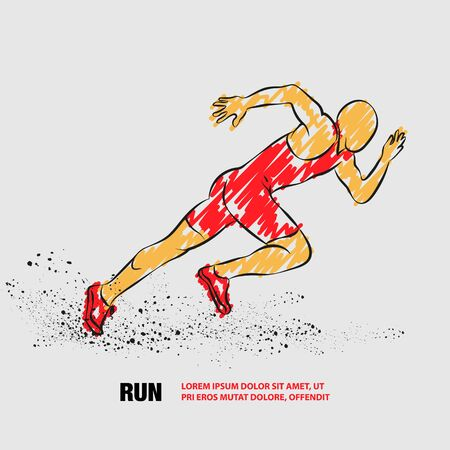 Running man. Vector outline of Running man with scribble doodles. Фото со стока - 130792566