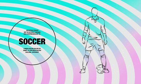 Soccer player stands near the ball and prepare for a kick. Vector outline of soccer player sport illustration.