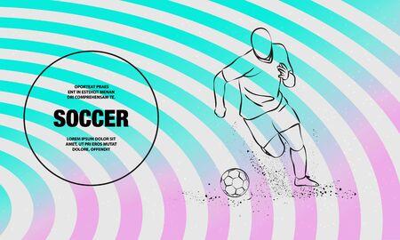 Soccer player running with the ball. Vector outline of soccer player sport illustration. Illustration