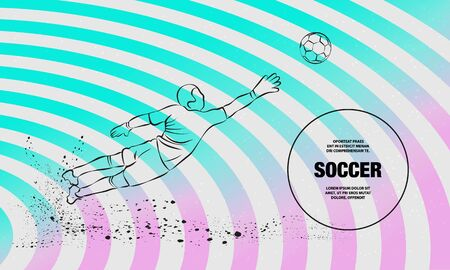 Save from the soccer goalkeeper. Vector outline of soccer player sport illustration. Stock Illustratie