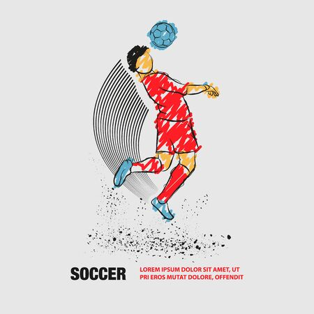 Soccer player hit the ball by head. Vector outline of Soccer player with scribble doodles. Иллюстрация