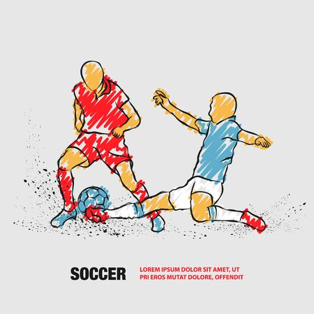 Soccer player hits the ball in the tackle. Vector outline of Soccer players with scribble doodles. Фото со стока - 130792570