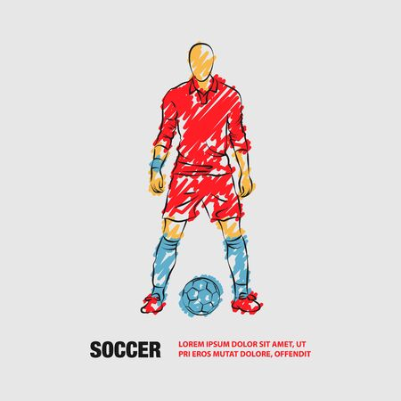 Soccer player stands near the ball and prepare for a kick. Vector outline of Soccer player with scribble doodles. Фото со стока - 130792571