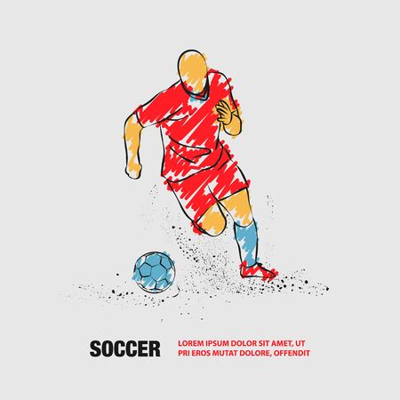 Soccer player running with the ball. Vector outline of Soccer player with scribble doodles. Иллюстрация