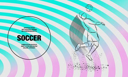 Soccer player hit the ball by head. Vector outline of soccer player sport illustration.