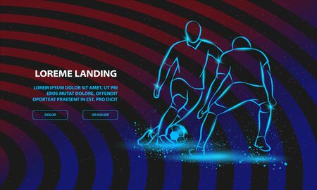 Two soccer players fighting for the ball. Forward and defender playing football. Vector Football Sport Background for Landing Page Template.