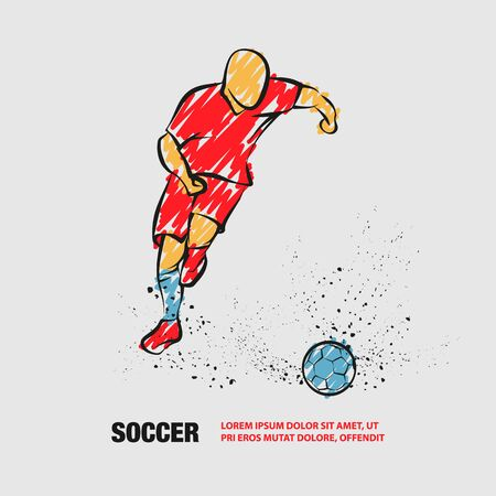 Soccer player running with the ball. Vector outline of soccer player with scribble doodles.