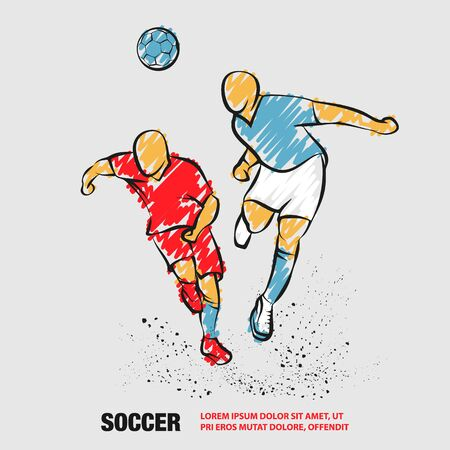 Two Soccer players fighting for the ball. Vector outline of soccer player with scribble doodles. Фото со стока - 130792528