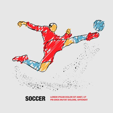Soccer striker. Football player hits the ball in flight. Vector outline of soccer player with scribble doodles.