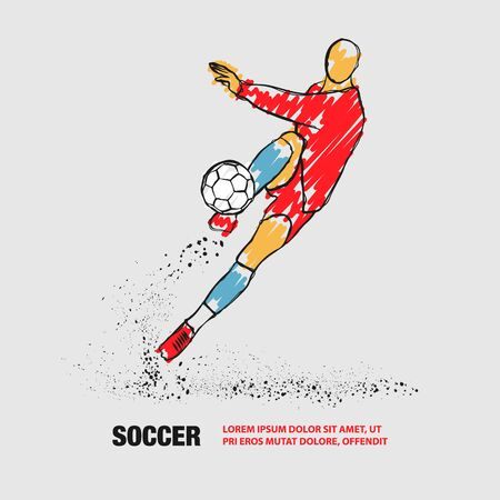 Soccer player hits the ball. Front view. Vector outline of soccer player with scribble doodles.
