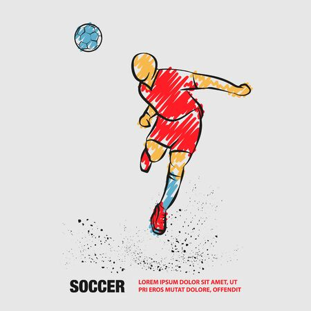 Soccer player heading the ball. Vector silhouette of a footballer jump and soccer ball. Vector outline of soccer player with scribble doodles. Фото со стока - 130792532