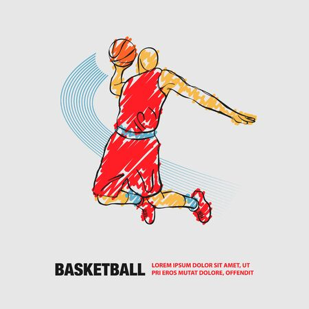Basketball Slam dunk by Basketball Player. Vector outline of soccer player with scribble doodles.