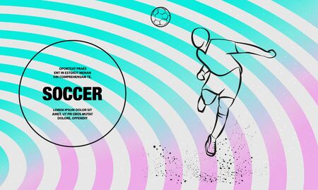 Soccer player heading the ball. Vector silhouette of a footballer jump and soccer ball. Vector outline of soccer player sport illustration.