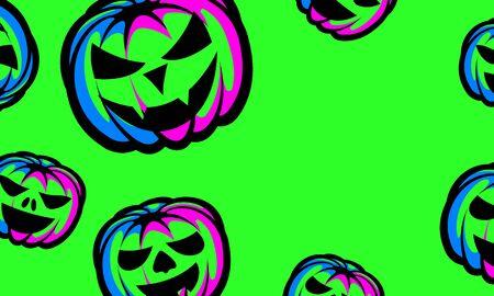 Halloween background. Halloween Night Party Poster with Green Neon Pumpkin Lantern. 向量圖像
