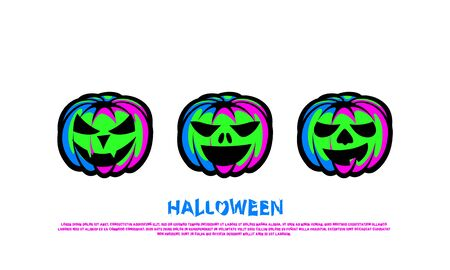 Green Neon Pumpkin Lantern Set. Halloween Night Party Poster.