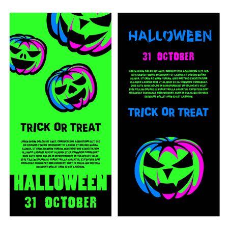 Halloween party flyer set. Halloween Night Party Poster with Green Neon Pumpkin Lantern.