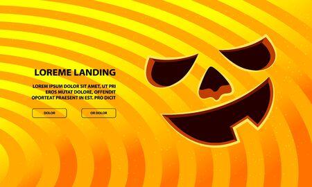 Jack Pumpkin Funny Face Carved in Orange Background. Vector Halloween Background. Иллюстрация