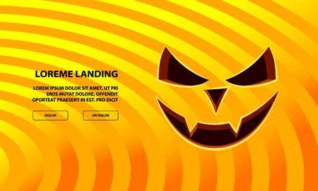 Jack Pumpkin Vampire Face Carved in Orange Background. Vector Halloween Background for Landing Page Template.