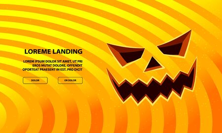 Jack Pumpkin Scary Face Carved in Orange Background. Vector Halloween Background for Landing Page Template.