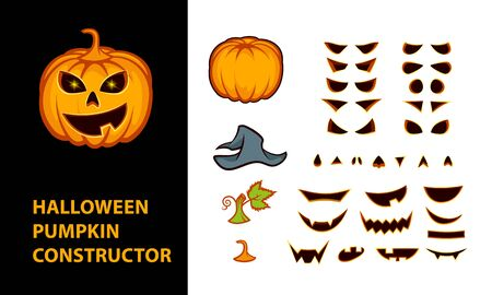 Halloween pumpkins constructor with emotional faces. Jack lantern character parts for animation.