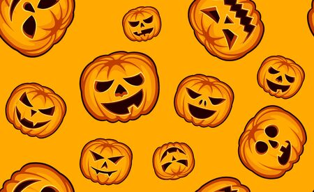 Seamless Halloween Pattern with Pumpkins on orange background. Иллюстрация