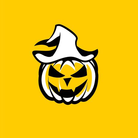 Black white Halloween pumpkin with Vampire Face in a hat on a yellow background. Ilustração