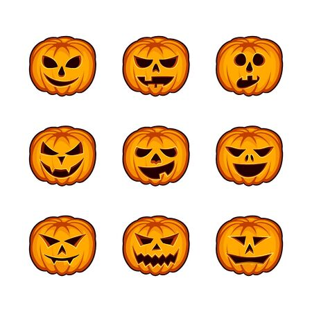 Set pumpkin semotions for Halloween. Orange jack lantern icons on white background. Ilustração