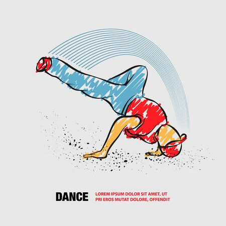 Breakdance freeze. Vector outline of Breakdancer with scribble doodles. Фото со стока - 130792503