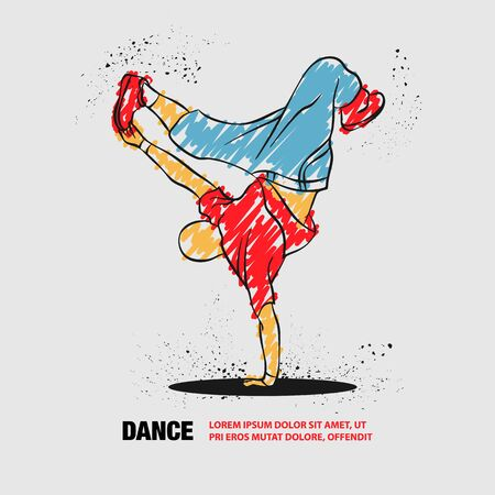 Breakdancer dancing and making a frieze on one hand. Vector outline of Breakdancer with scribble doodles.