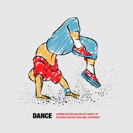 Breakdancer doing a back flip. The man is dancing hip hop style. Vector outline of Breakdancer with scribble doodles. Фото со стока - 130792506