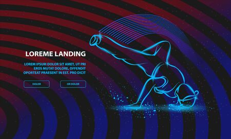 Breakdance freeze. Vector Breakdance Background for Landing Page Template.