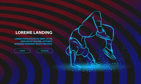 Breakdancer doing a back flip. The man is dancing hip hop style. Vector Breakdance Background for Landing Page Template.