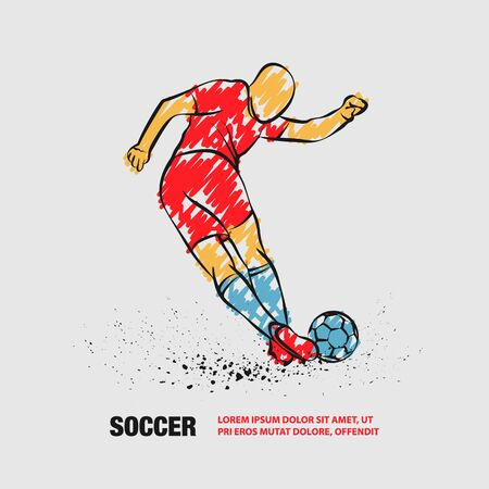 Tricky kick by soccer player. Vector outline of soccer player with scribble doodles. Иллюстрация