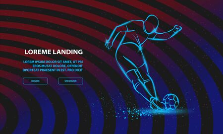 Tricky kick by soccer player. Vector Sport Background for Landing Page Template. Çizim