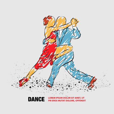 Couple dancing tango. Vector outline of tango dance with scribble doodles. Illustration