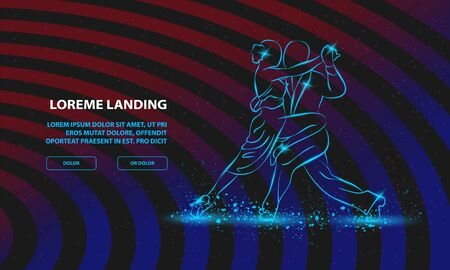 Couple dancing tango. Vector Dance Background for Landing Page Template.